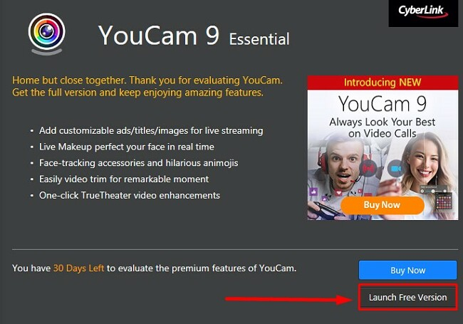 Launch free version of YouCam