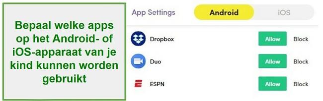 Net Nanny Apps beheren