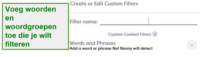 Net Nanny aangepast filter