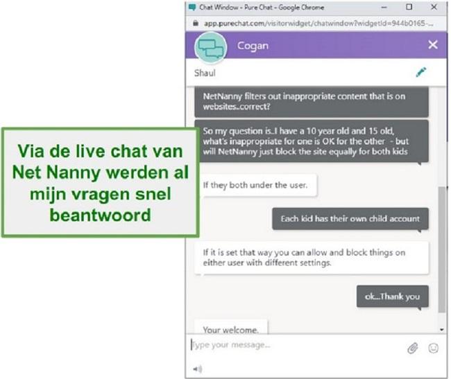 Net Nanny klantenservice