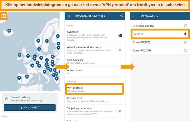 Screenshot van NordVPN-app en VPN-protocolinstellingen op Android