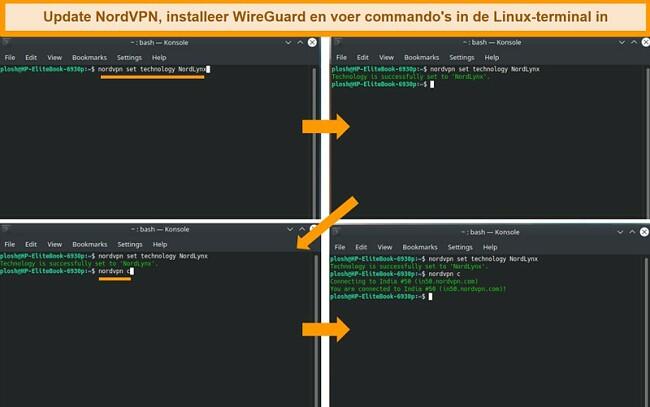 Screenshot van NordVPN Linux-app en VPN-protocolinstellingen