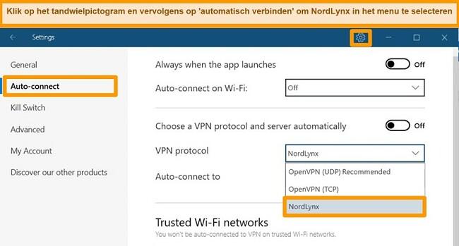 Screenshot van NordVPN-app en VPN-instellingen op Windows