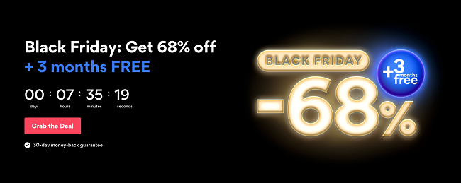 Screenshot of NordVPN's deal for Black Friday/Cyber Monday