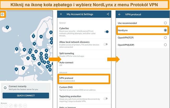 Zrzut ekranu aplikacji NordVPN i ustawień protokołu VPN w systemie Android