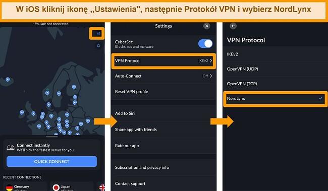Zrzut ekranu aplikacji NordVPN na iOS i ustawień protokołu VPN