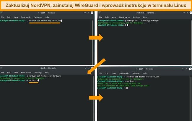 Zrzut ekranu aplikacji NordVPN Linux i ustawień protokołu VPN