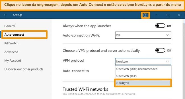 Captura de tela do aplicativo NordVPN e configurações de VPN no Windows
