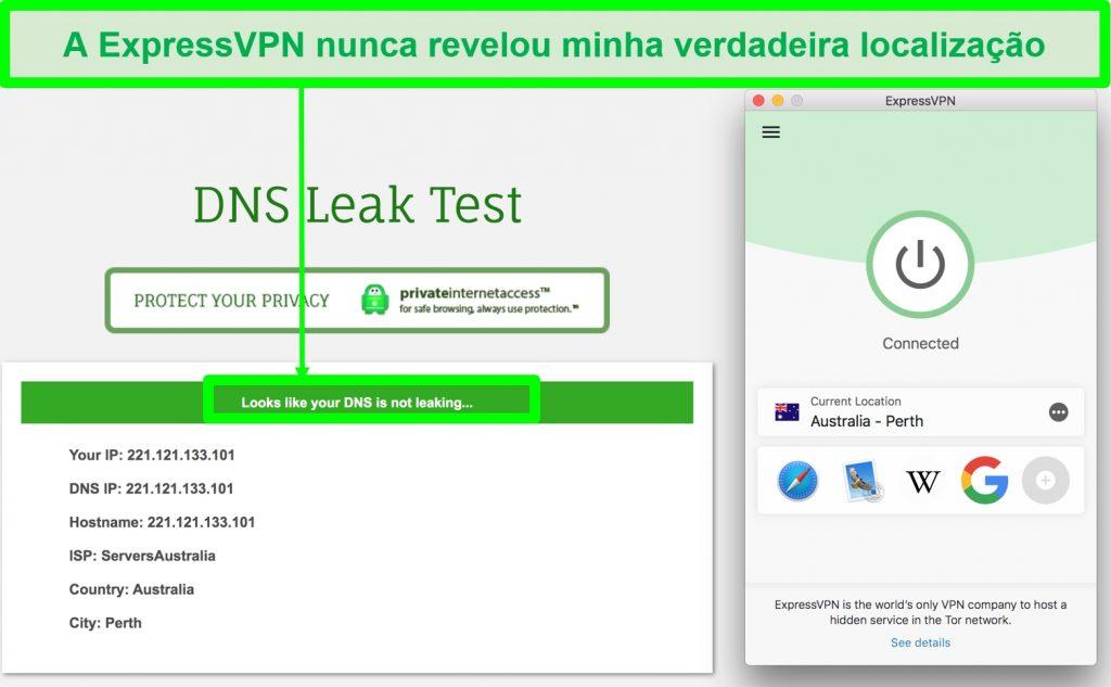 Captura de tela mostrando que ExpressVPN passou no teste de vazamento de DNS