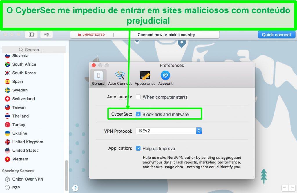 Captura de tela da interface do NordVPN mostrando que ele tem um bloqueador de malware