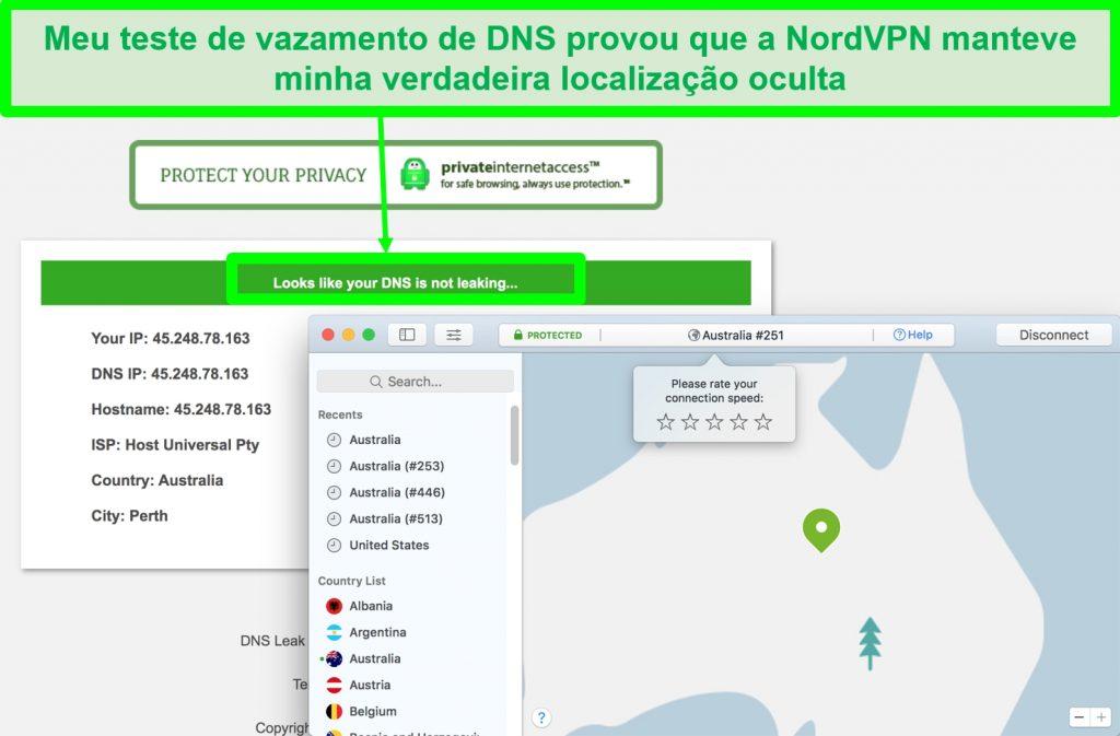 Captura de tela mostrando que NordVPN passou nas provas de vazamento de DNS