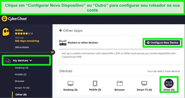 Captura de tela das opções de configuração do roteador CyberGhost nas configurações da conta.