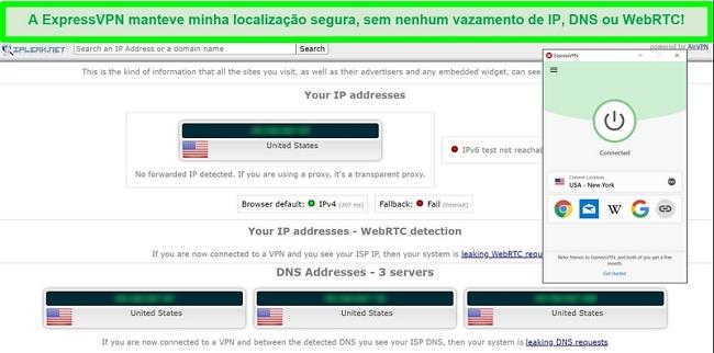 Captura de tela do teste de vazamento ExpressVPN do IPLeak.net mostrando nenhum vazamento de dados.