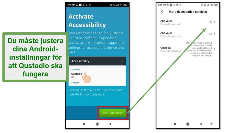 Qustodio Android-inställningar