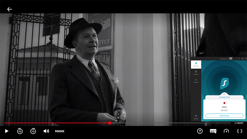 Screenshot of Surfshark unblocking Mank on Netflix