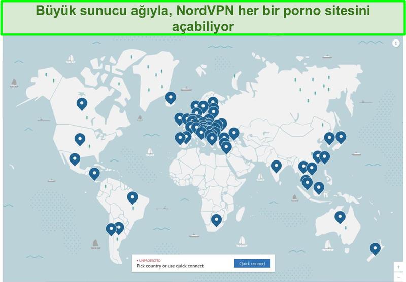 NordVPN'in sunucu haritasının ekran görüntüsü