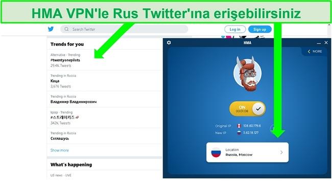 HMA VPN bağlıyken Rusya'da trend olan hashtag'leri içeren Twitter ekran görüntüsü