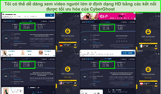 Ảnh chụp màn hình 4 bài kiểm tra tốc độ được thực hiện trên các máy chủ được tối ưu hóa của CyberGhost