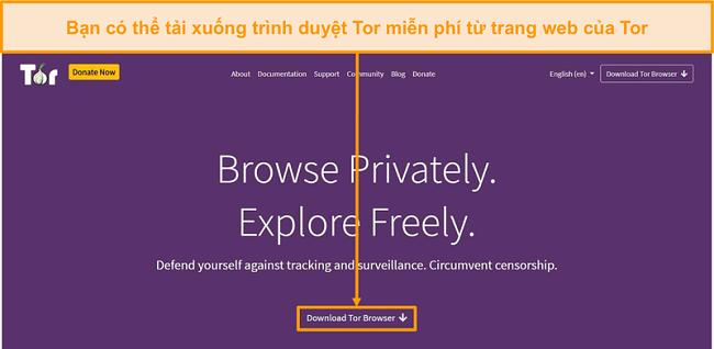 Ảnh chụp màn hình trang web chính thức của Tor