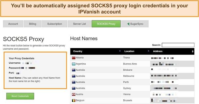 Screenshot of proxy login credentials assigned to my IPVanish account