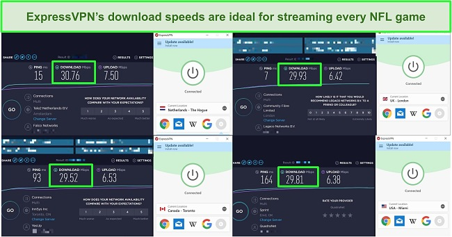 Screenshot of 4 speed tests on different ExpressVPN's servers