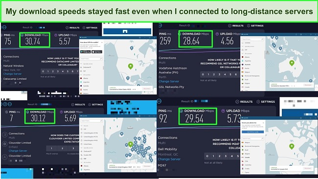 Screenshots of 4 speeds tests carried out on NordVPN's servers