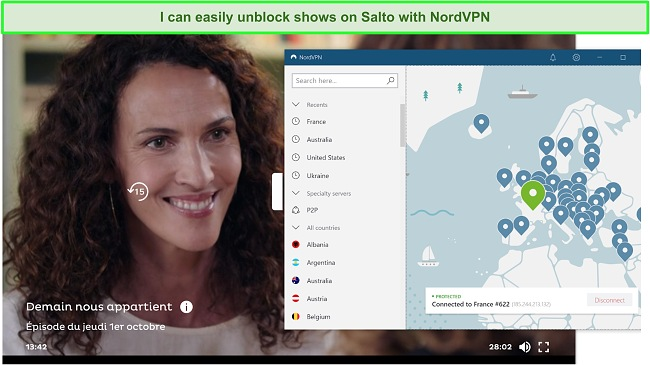 Screenshot of Demain Nous Appartient playing on Salto while NordVPN is connected to a French server.