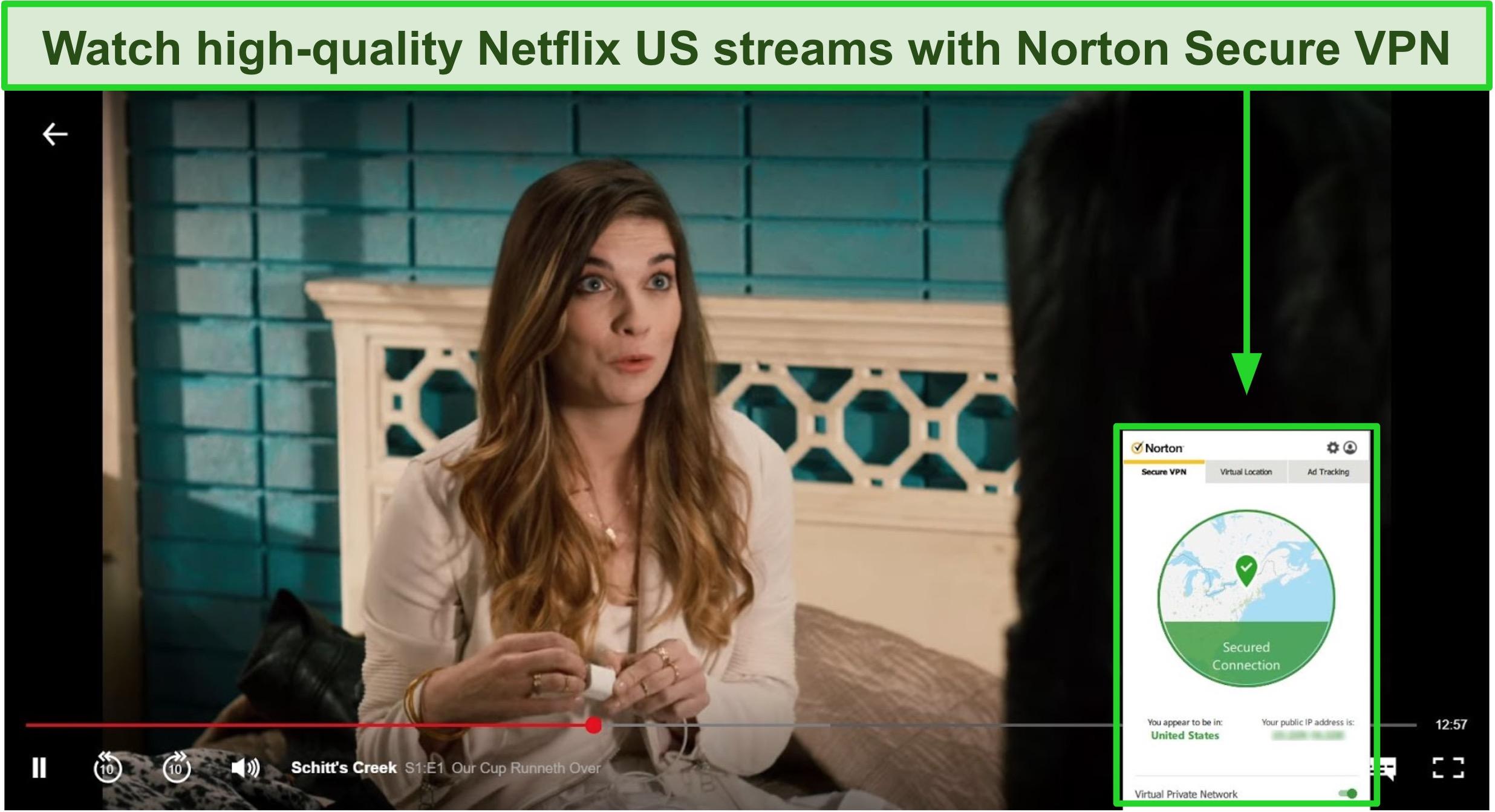 Screenshot of Norton Secure VPN works with Netflix
