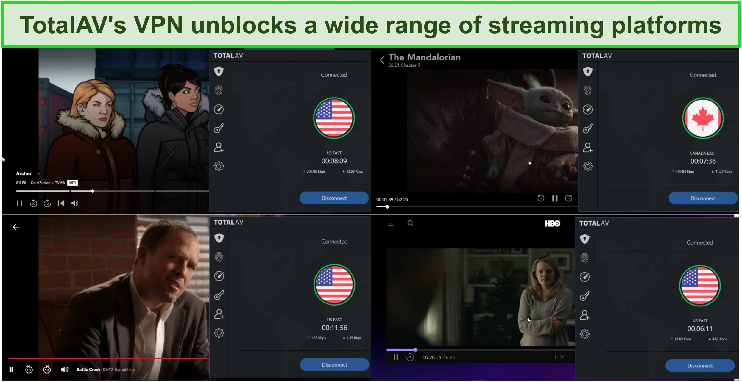 Screenshot of TotalAV's VPN unblocking Hulu, Disney+, Netflix, and HBO Max.