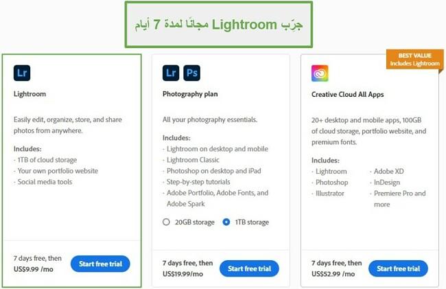 تجربة lightroom مجانية