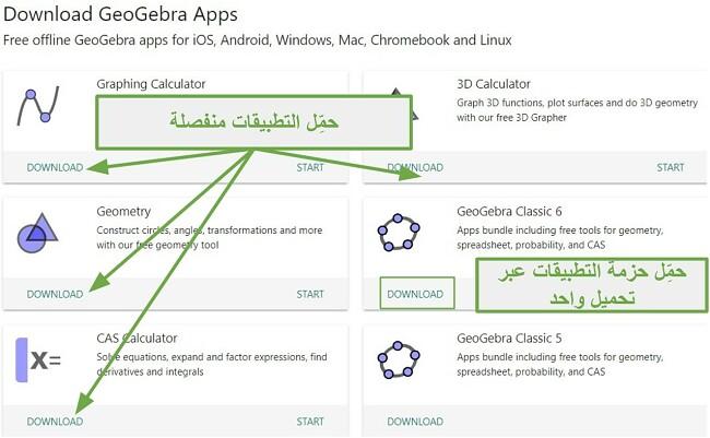 يمكنك تنزيل تطبيقات GeoGebra بشكل فردي أو كلها معًا في حزمها الكلاسيكية
