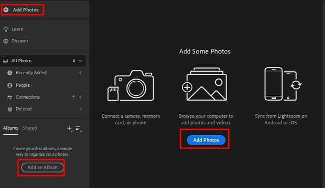 Add photos lightroom