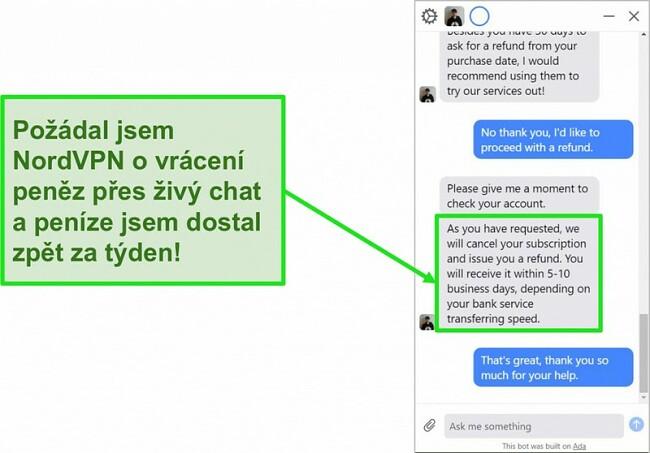 Screenshot z iniciace a schválení vrácení peněz prostřednictvím živého chatu zákaznické podpory společnosti NordVPN