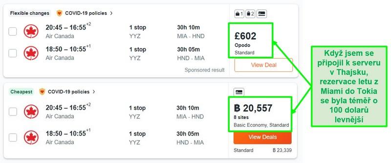 Porovnání cen trasy Miami - Tokio pomocí serverů ve Velké Británii a Thajsku