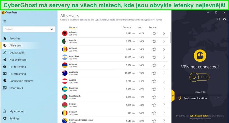 Screenshot ze seznamu dostupných serverů CyberGhost
