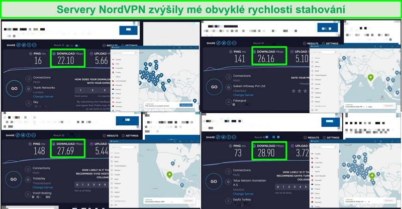 Screenshoty 4 rychlostních testů porovnávajících rychlost serveru NordVPN s rychlostí běžného provozu