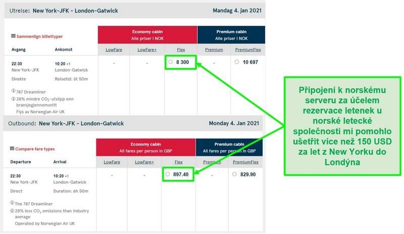 Porovnání cen letů z New Yorku do Londýna, které ukazuje rozdíly při připojení k serverům v Norsku a Velké Británii
