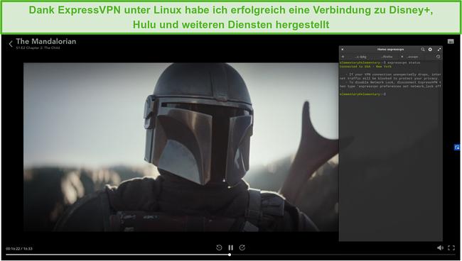 Screenshot von ExpressVPN unter Linux, der The Mandalorian von Disney + US entsperrt.