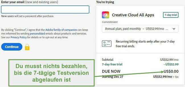 Screenshot der Abrechnungsseite von Adobe