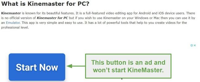 Don't click Ad KineMaster