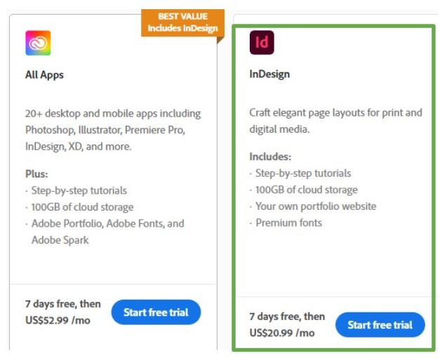 Download InDesign or All Apps