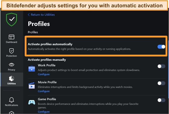 Screenshot of Bitdefender's Profiles setting with automatic activation highlighted.