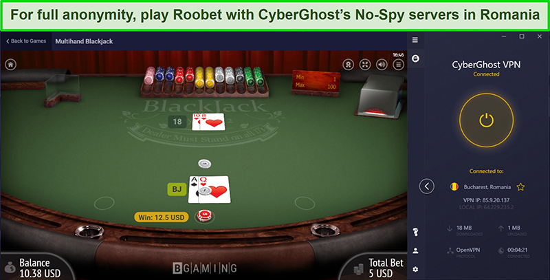 Screenshot of unblocking Blackjack on Roobet with CyberGhost's No-Spy servers in Romania