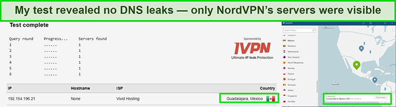 Screentest showing no leaks during a DNS leak test on NordVPN server in Mexico