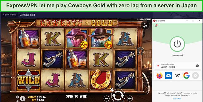 Screenshot of Cowboys Gold being played on ExpressVPN's Japan server