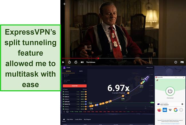 Screenshot of The Irishman on Netflix US and Roobet Crash on ExpressVPN's server in New Zealand