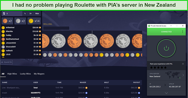 Screenshot of Roulette on Roobet being played on PIA's New Zealand server