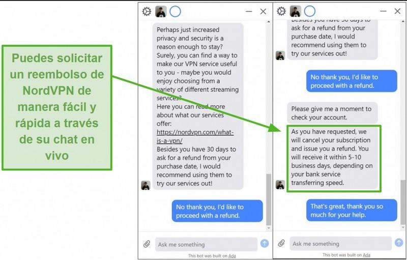 Captura de pantalla de un reembolso iniciado y aprobado a través del chat en vivo de atención al cliente de NordVPN