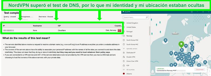 Captura de pantalla de una prueba de fugas de DNS exitosa mientras NordVPN está conectado a un servidor en Noruega