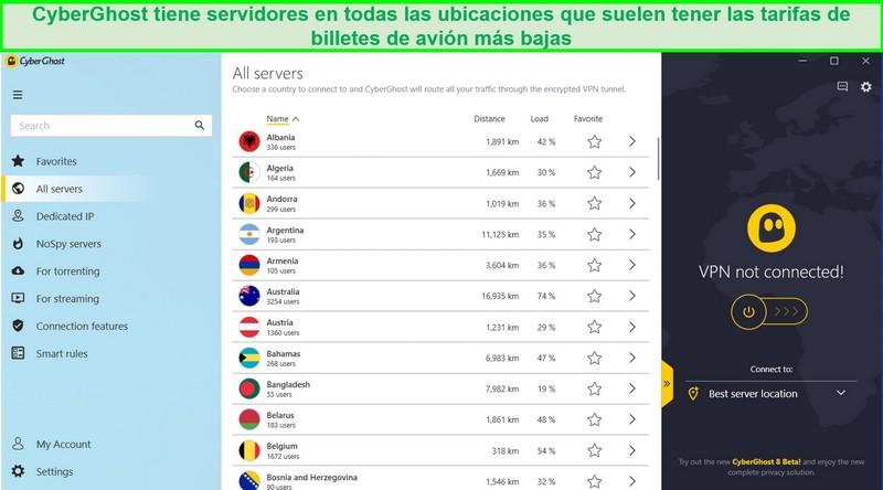 Captura de pantalla de la lista de servidores disponibles de CyberGhost
